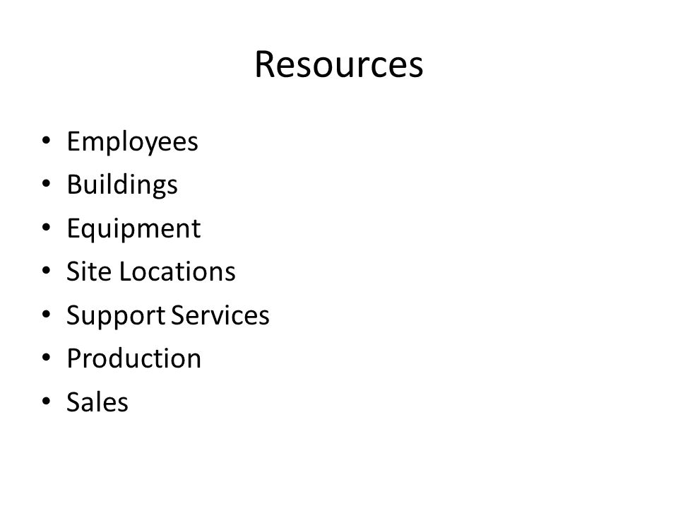 Resources Employees Buildings Equipment Site Locations