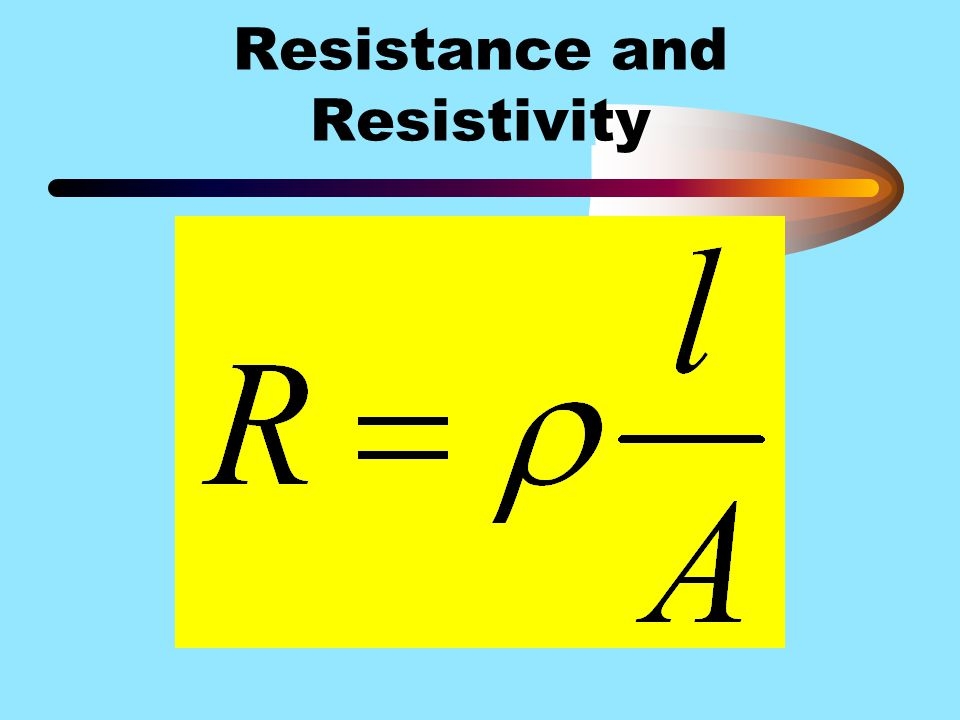 Resistance and Resistivity