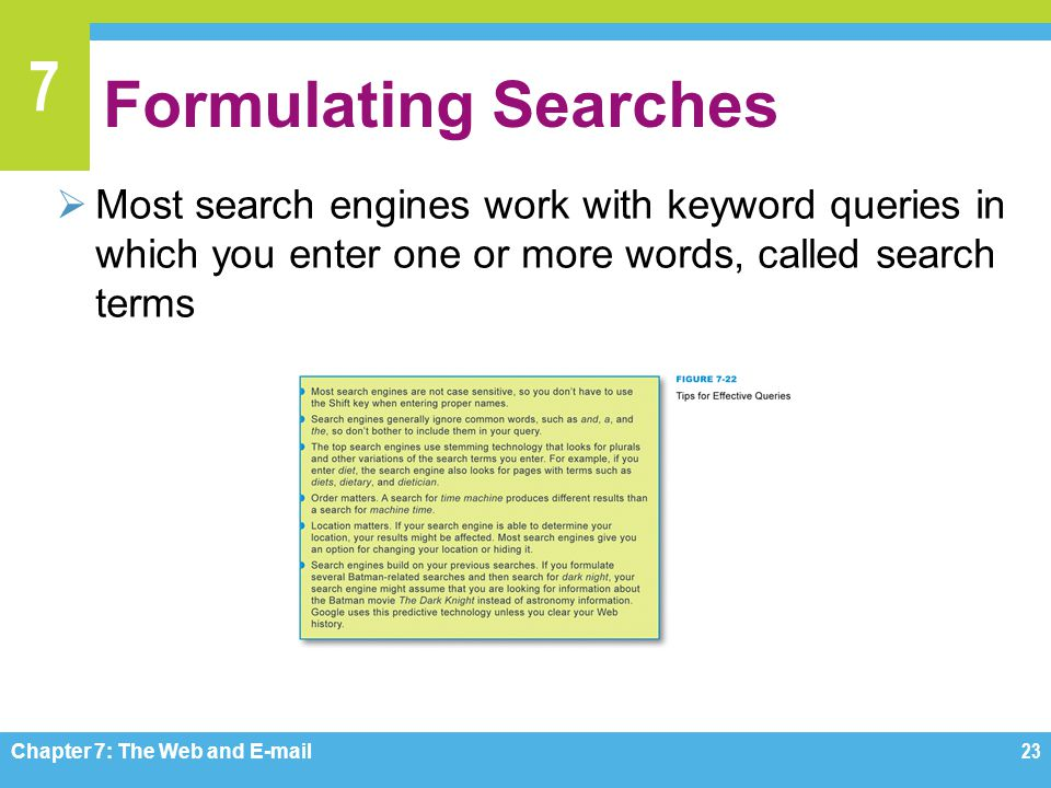 Formulating Searches Most search engines work with keyword queries in which you enter one or more words, called search terms.