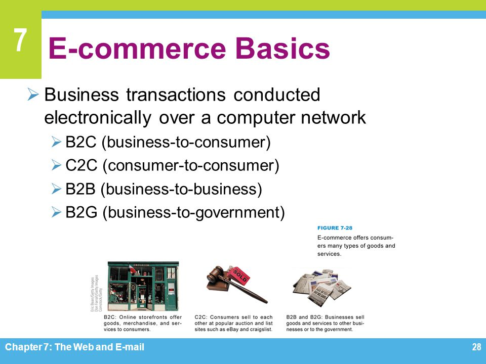 E-commerce Basics Business transactions conducted electronically over a computer network. B2C (business-to-consumer)