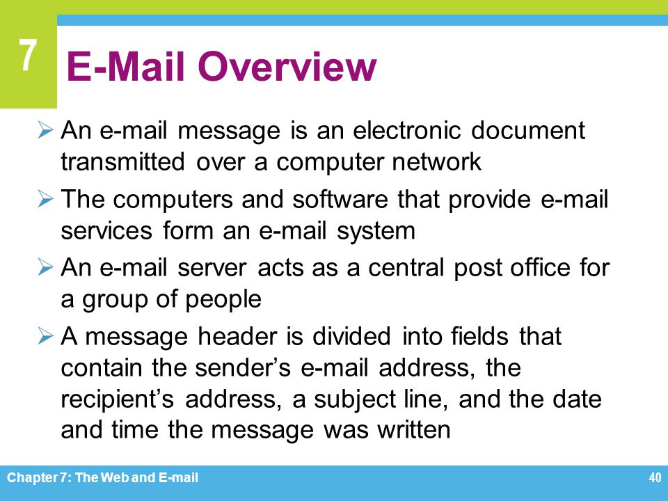 E-Mail Overview An e-mail message is an electronic document transmitted over a computer network.
