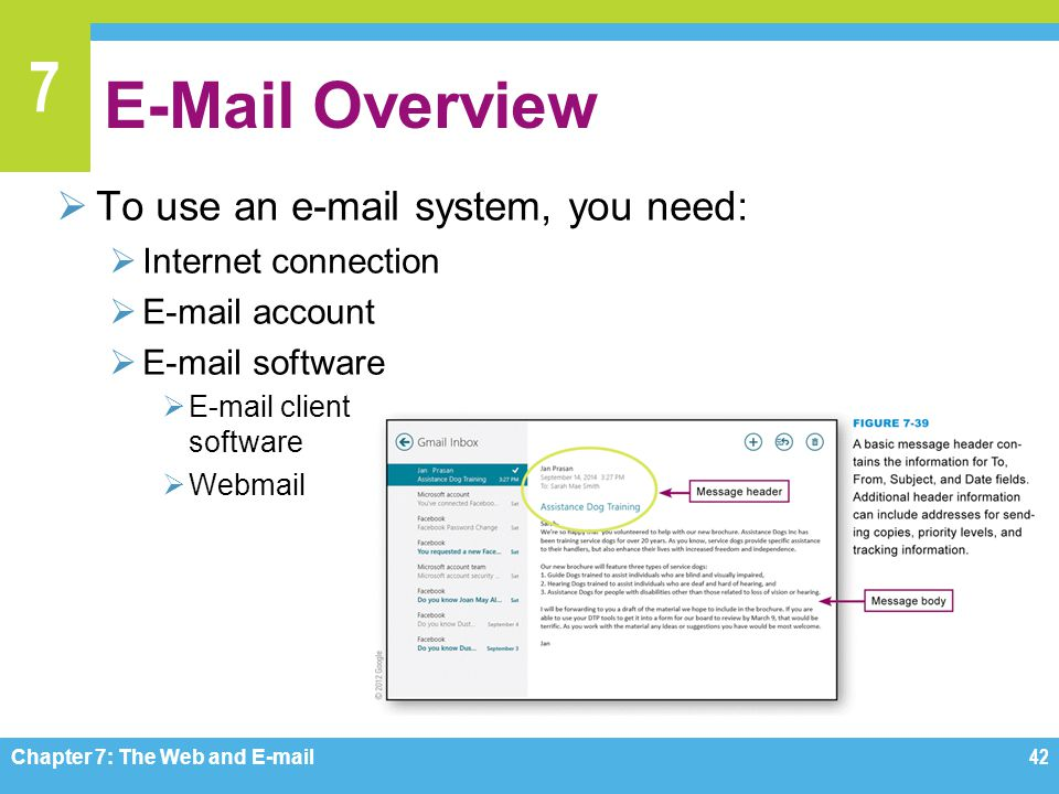 E-Mail Overview To use an e-mail system, you need: Internet connection