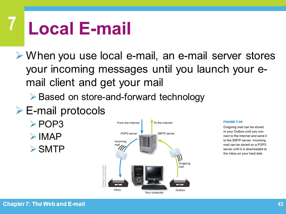 Local E-mail When you use local e-mail, an e-mail server stores your incoming messages until you launch your e-mail client and get your mail.