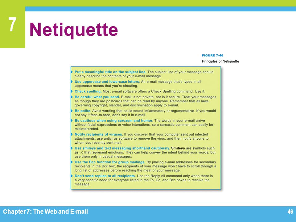 Netiquette Figure 7-46 Chapter 7: The Web and E-mail