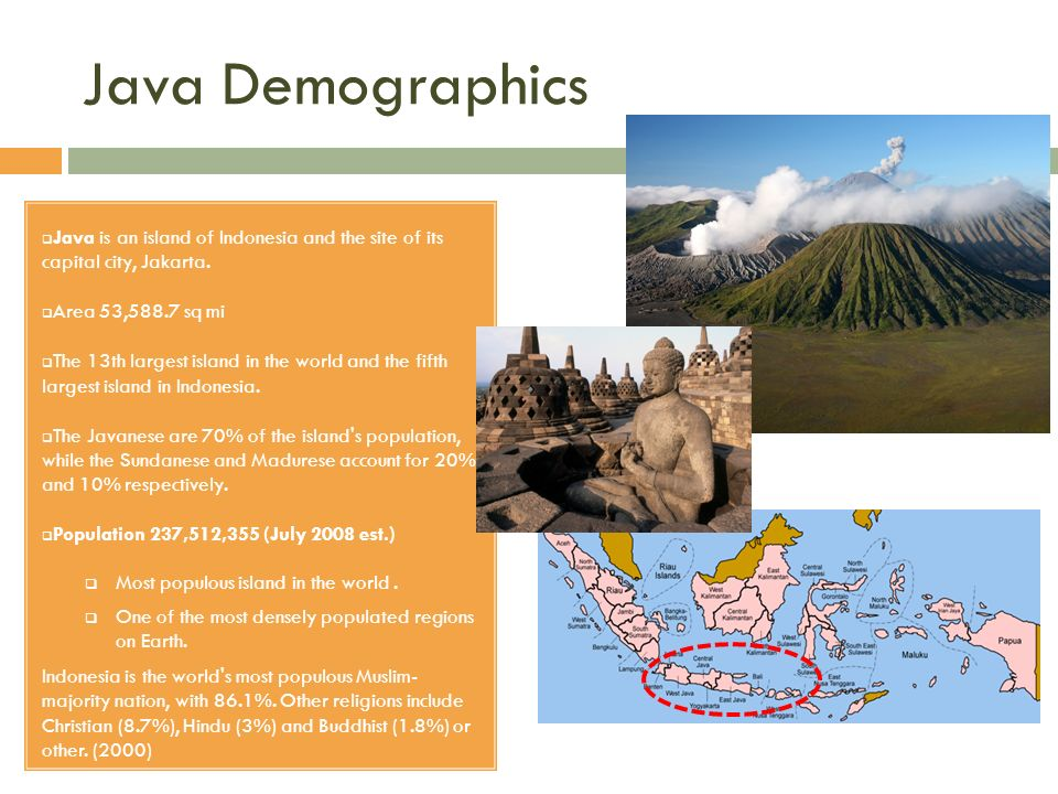 Java Demographics Java is an island of Indonesia and the site of its capital city, Jakarta. Area 53,588.7 sq mi.