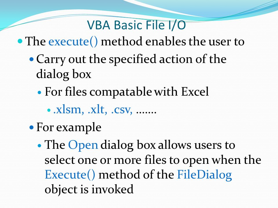 VBA Basic File I/O The execute() method enables the user to