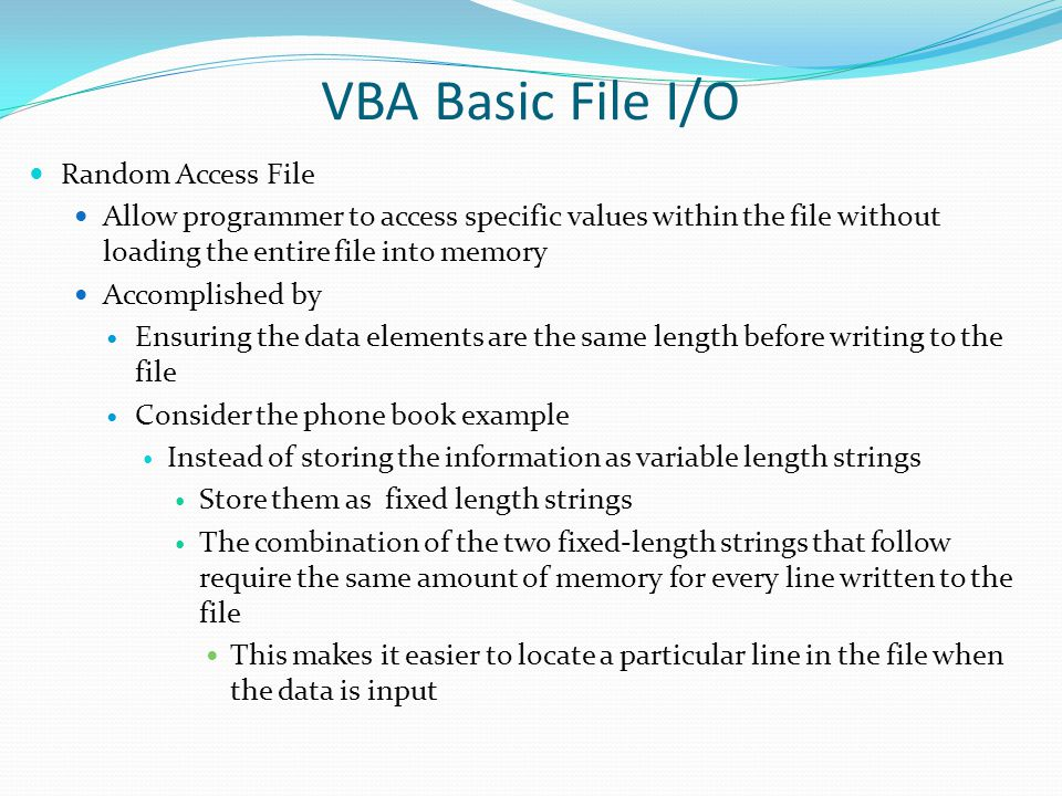 VBA Basic File I/O Random Access File