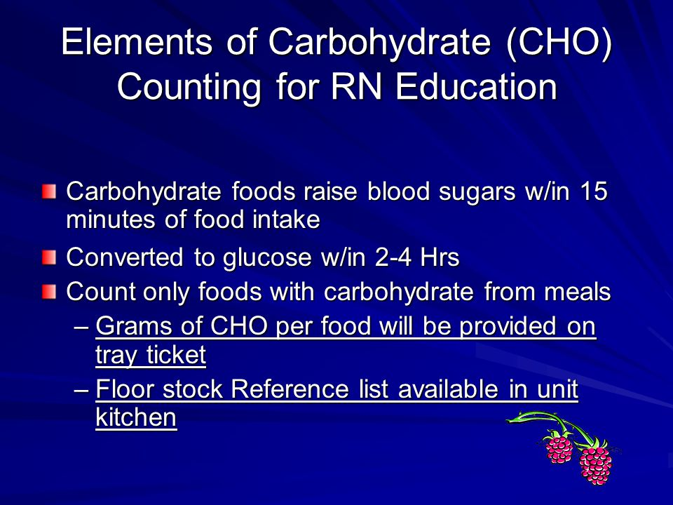 Elements of Carbohydrate (CHO) Counting for RN Education
