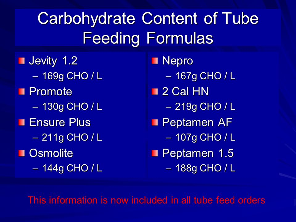 Carbohydrate Content of Tube Feeding Formulas