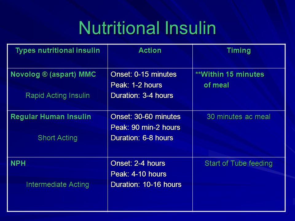 Types nutritional insulin