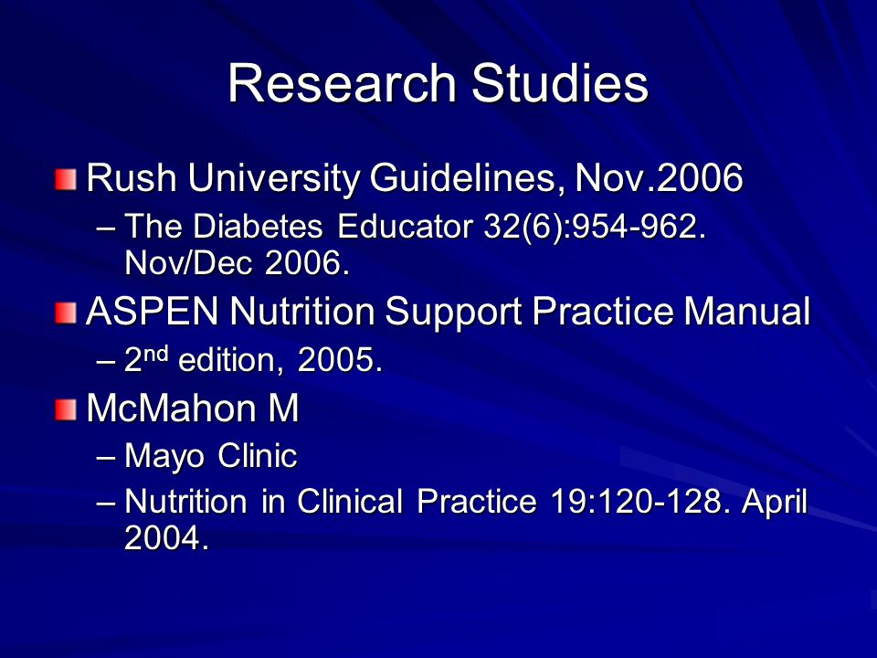 Research Studies Rush University Guidelines, Nov.2006