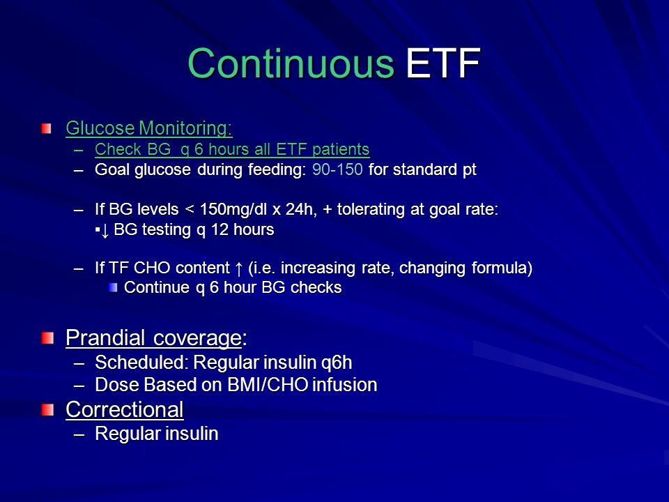 Continuous ETF Prandial coverage: Correctional Glucose Monitoring: