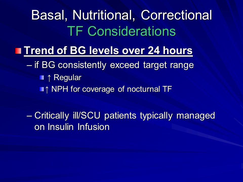 Basal, Nutritional, Correctional TF Considerations