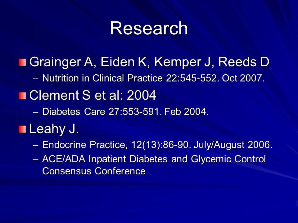 Research Grainger A, Eiden K, Kemper J, Reeds D Clement S et al: 2004