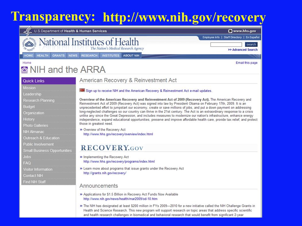 Transparency: http://www.nih.gov/recovery