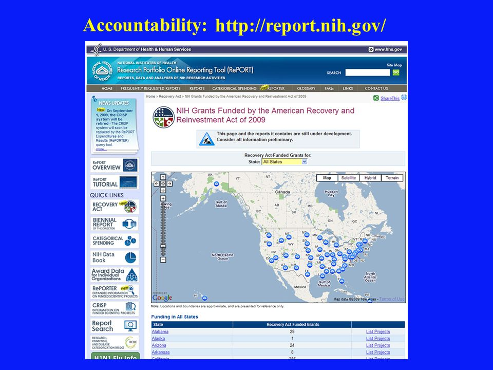 Accountability: http://report.nih.gov/