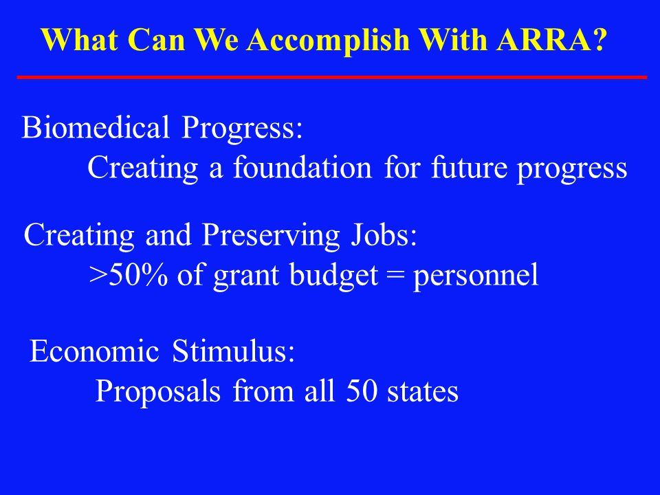 What Can We Accomplish With ARRA