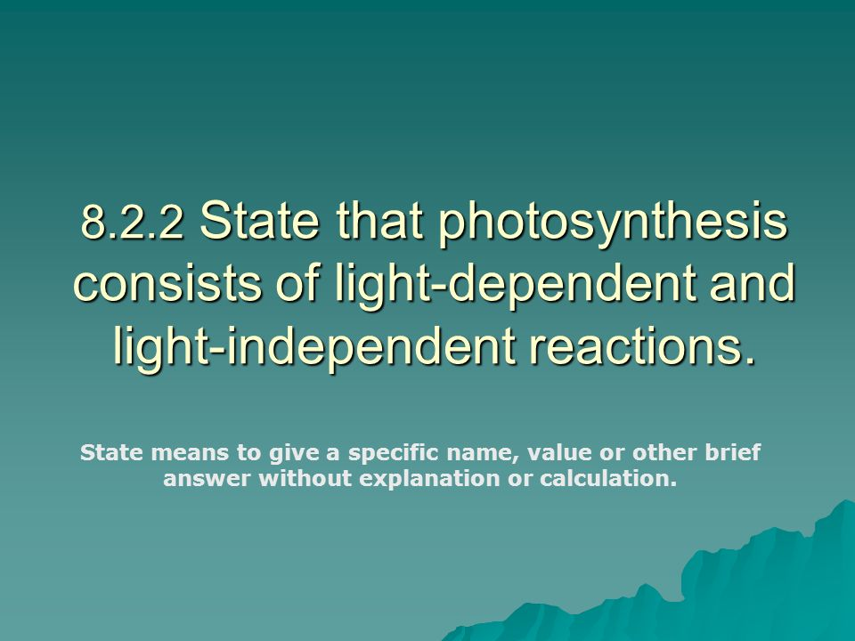 8.2.2 State that photosynthesis consists of light-dependent and light-independent reactions.