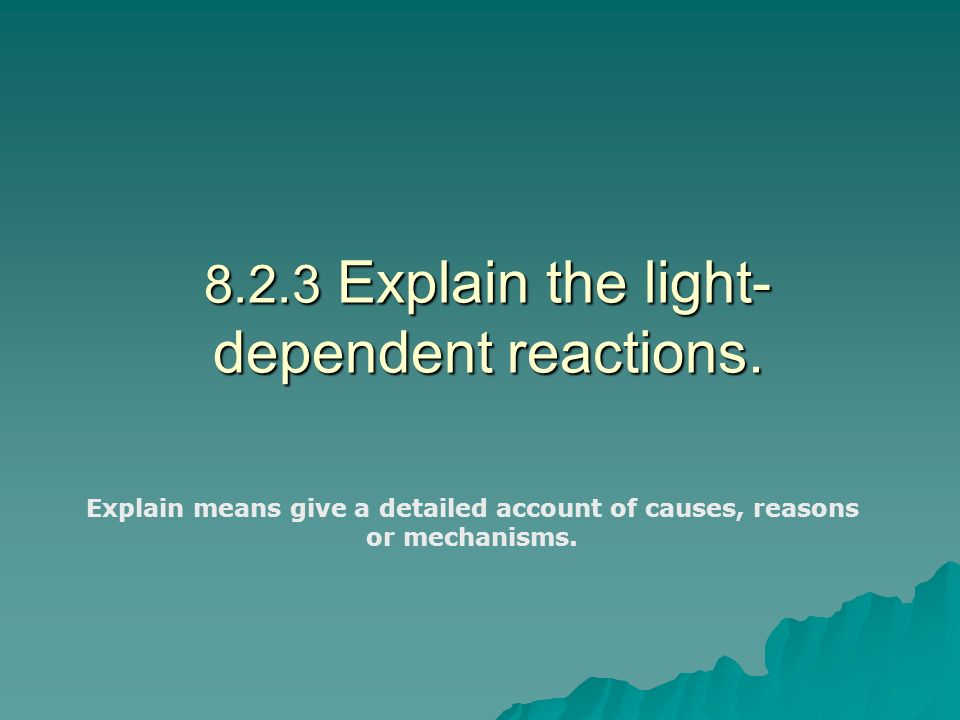 8.2.3 Explain the light-dependent reactions.