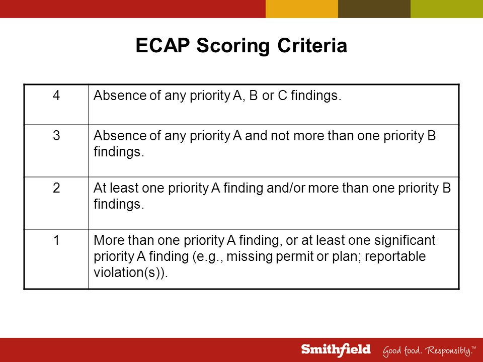 ECAP Scoring Criteria 4 Absence of any priority A, B or C findings. 3