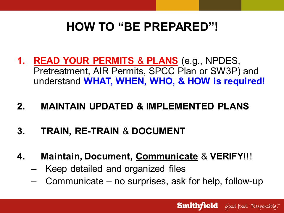 HOW TO BE PREPARED !