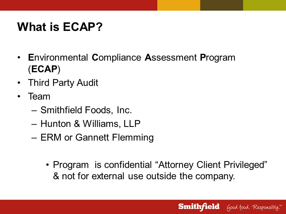 What is ECAP Environmental Compliance Assessment Program (ECAP)