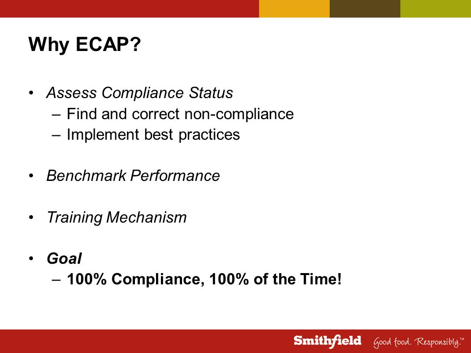 Why ECAP Assess Compliance Status Find and correct non-compliance