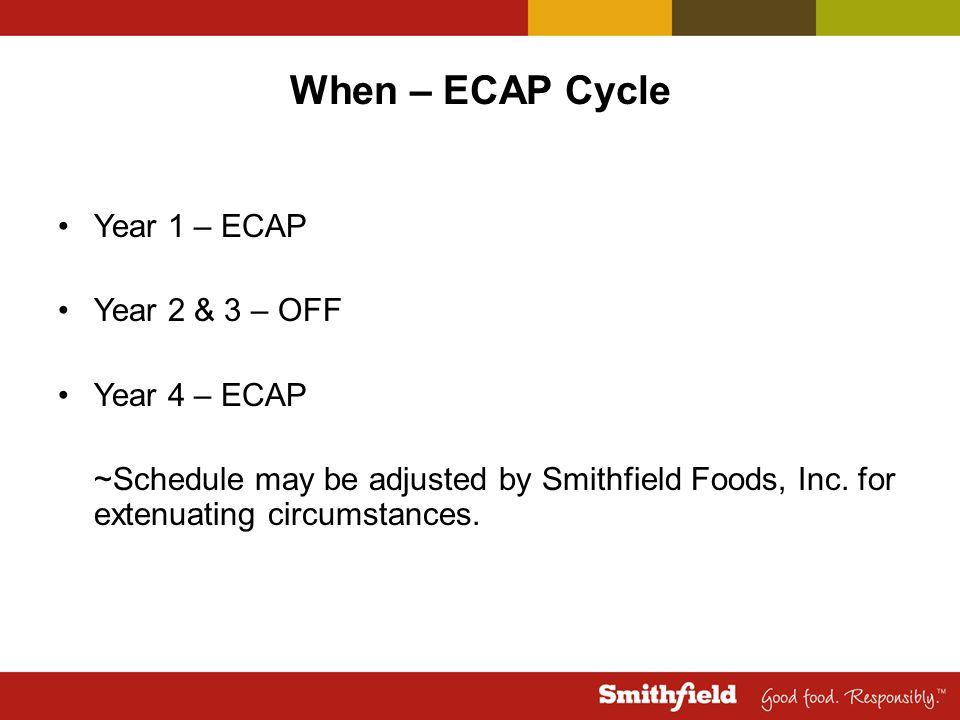When – ECAP Cycle Year 1 – ECAP Year 2 & 3 – OFF Year 4 – ECAP