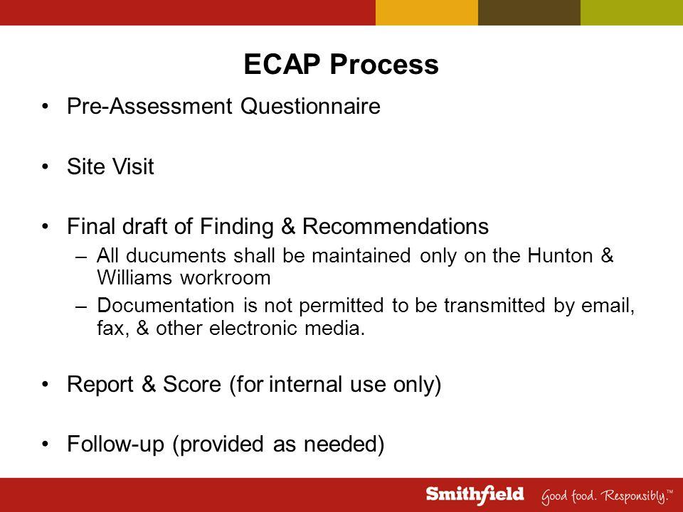 ECAP Process Pre-Assessment Questionnaire Site Visit