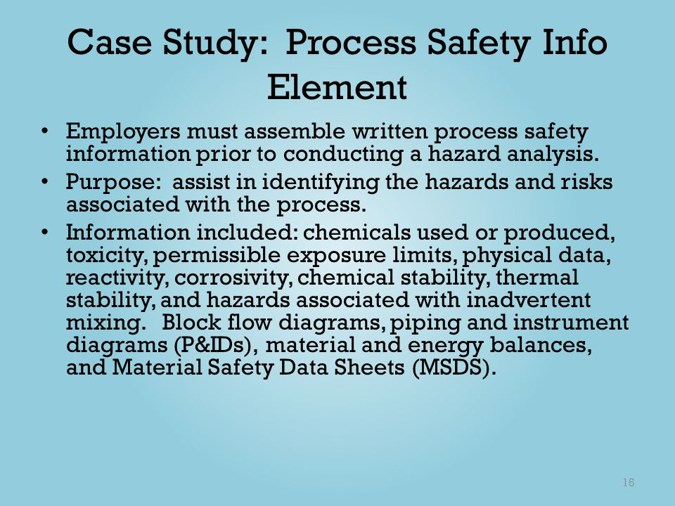 Case Study: Process Safety Info Element