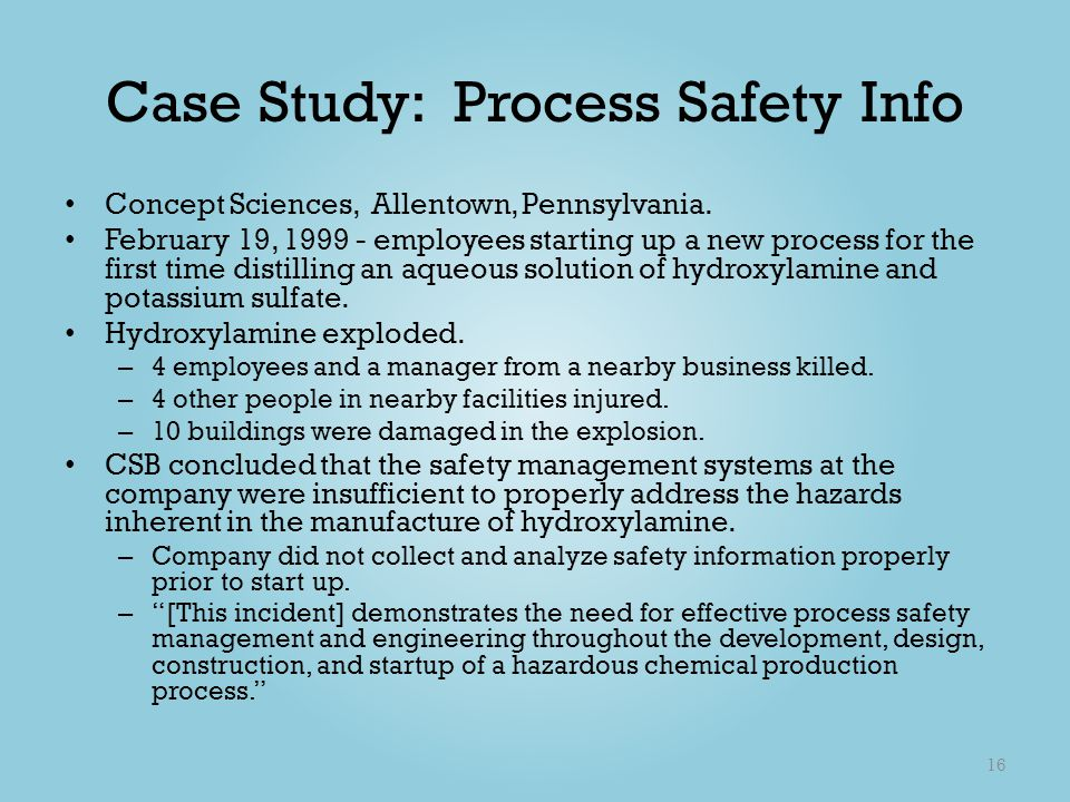 Case Study: Process Safety Info