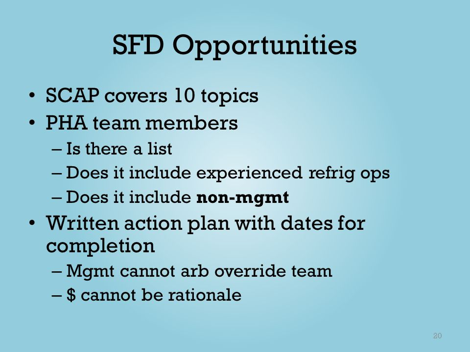 SFD Opportunities SCAP covers 10 topics PHA team members