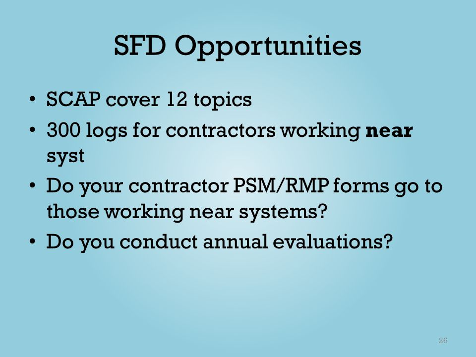 SFD Opportunities SCAP cover 12 topics