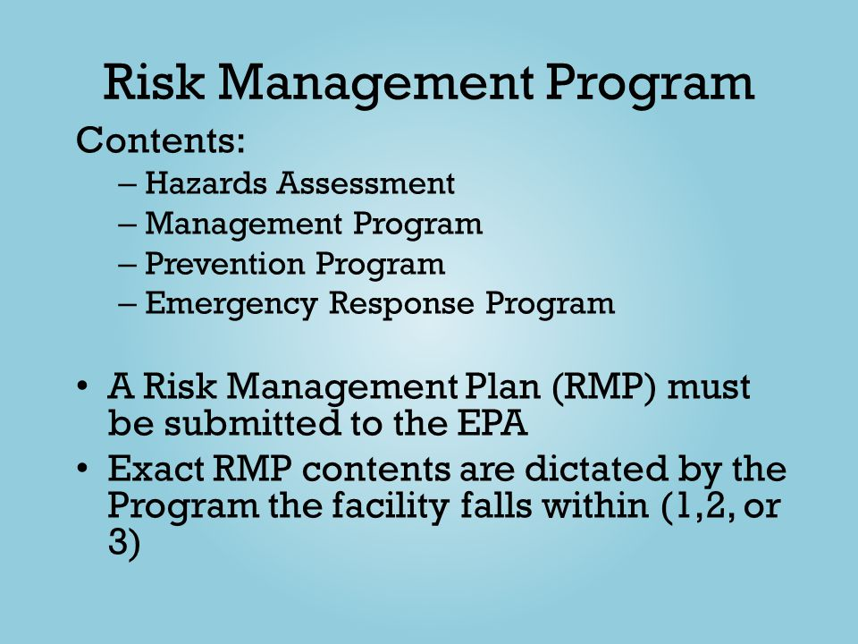 Risk Management Program