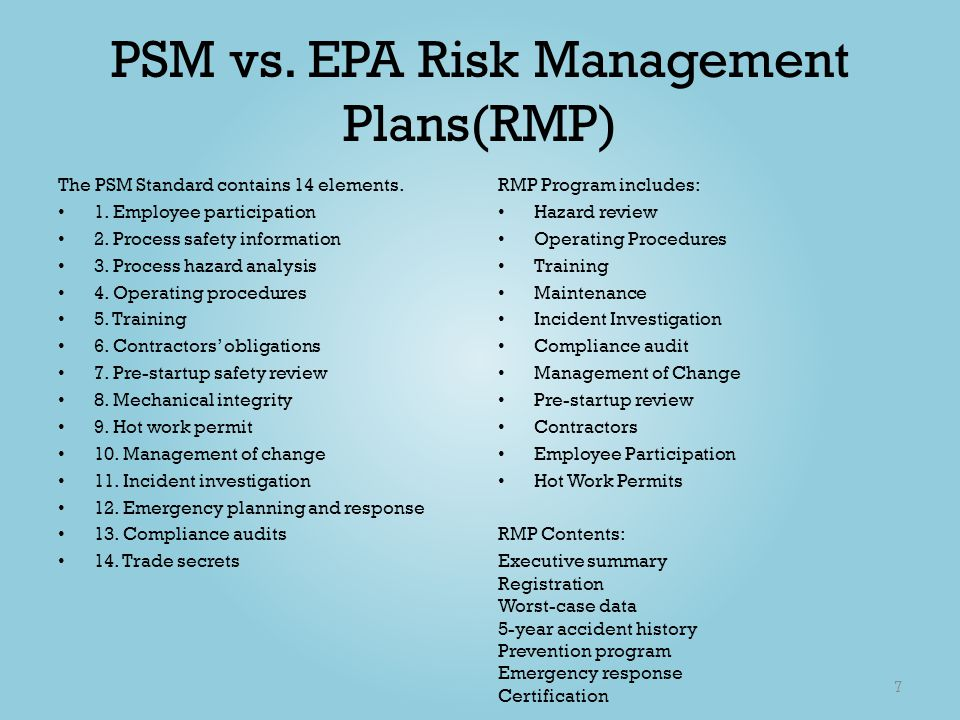 Process Safety Management Psm Risk Management Plan Rmp  Ppt