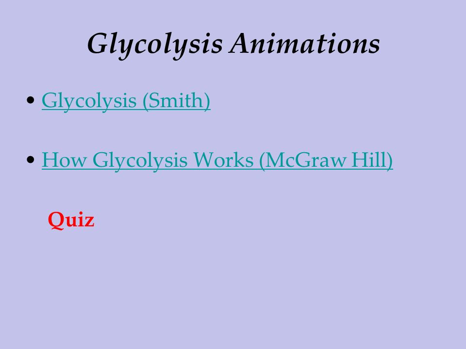 Glycolysis Animations