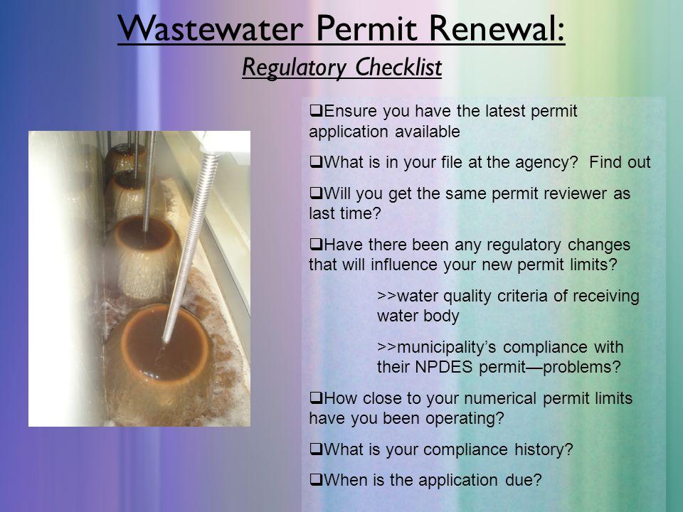 Wastewater Permit Renewal: Regulatory Checklist
