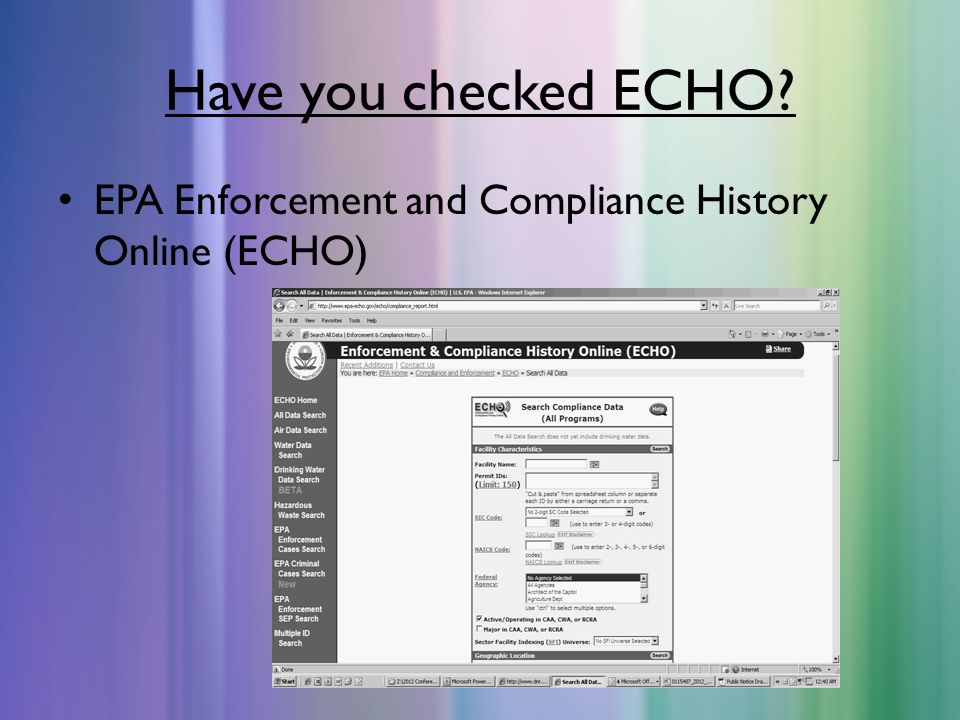 Have you checked ECHO EPA Enforcement and Compliance History Online (ECHO)