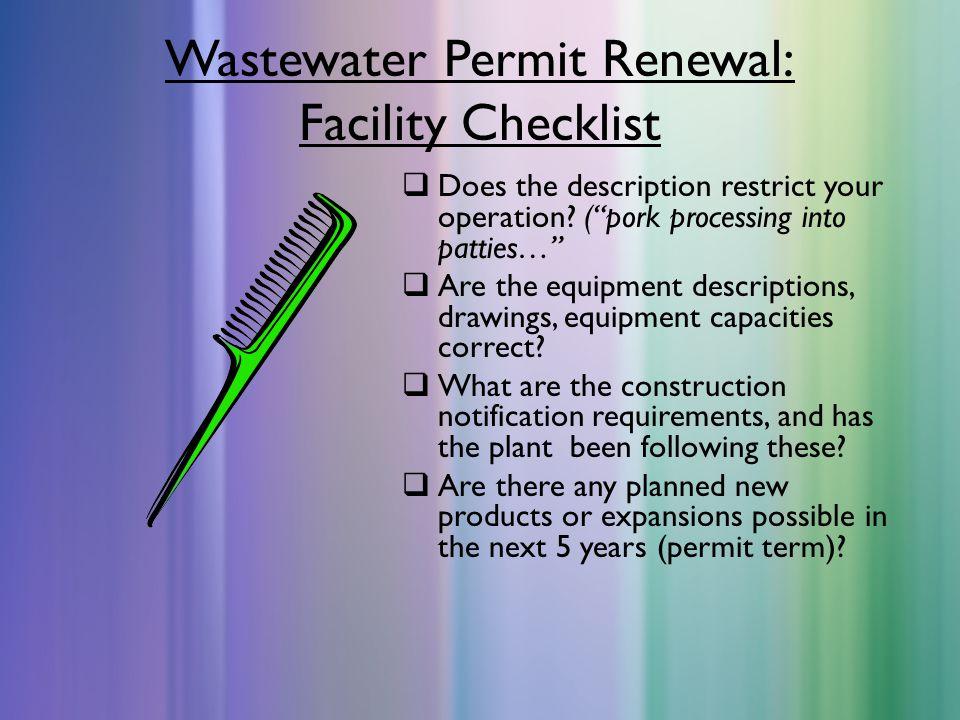 Wastewater Permit Renewal: Facility Checklist