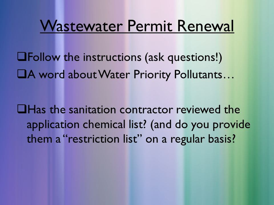 Wastewater Permit Renewal