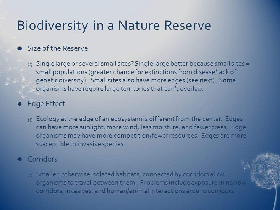 Biodiversity in a Nature Reserve