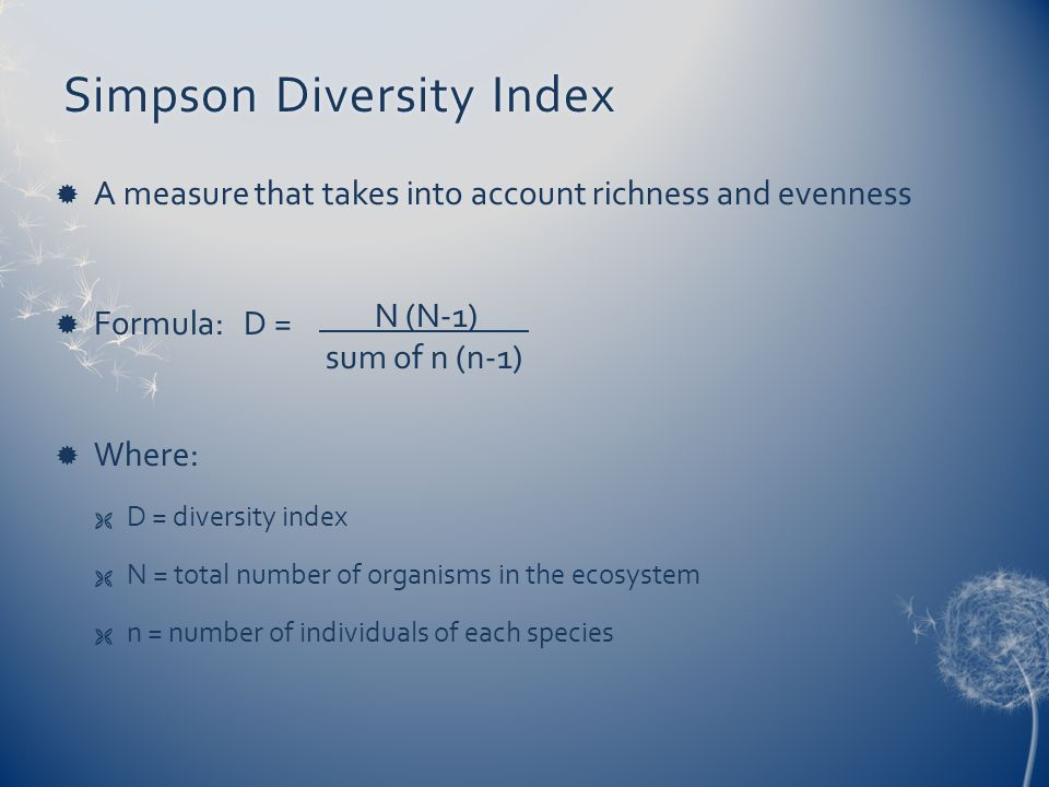 Simpson Diversity Index
