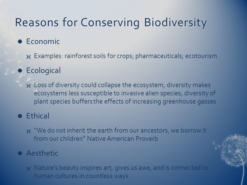 Reasons for Conserving Biodiversity