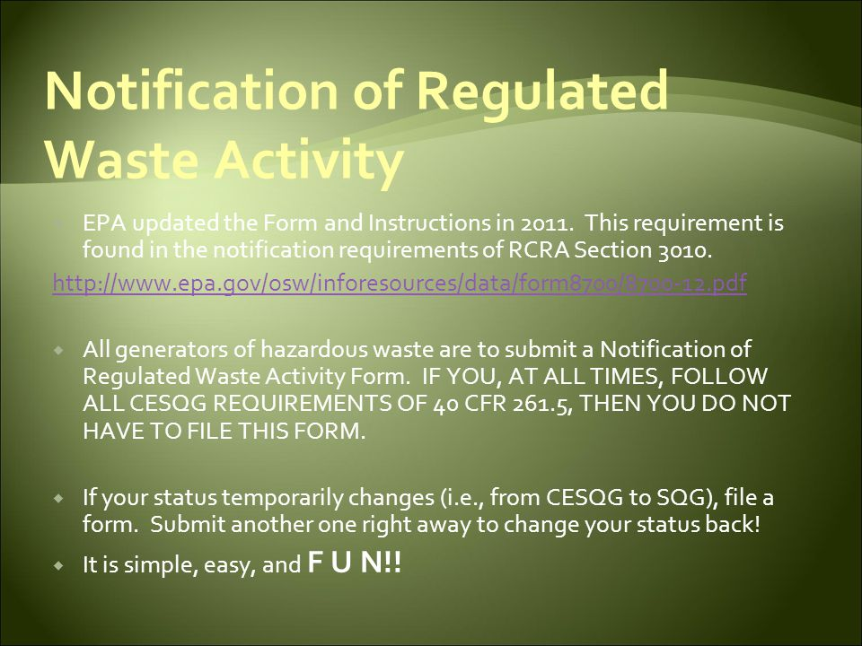 Notification of Regulated Waste Activity