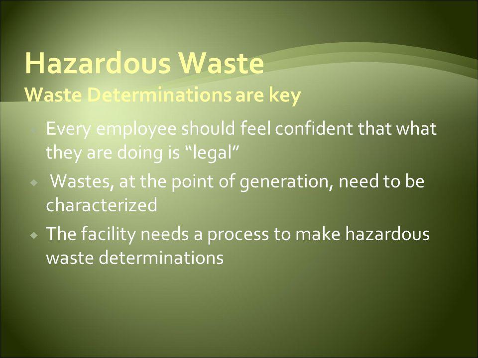 Hazardous Waste Waste Determinations are key
