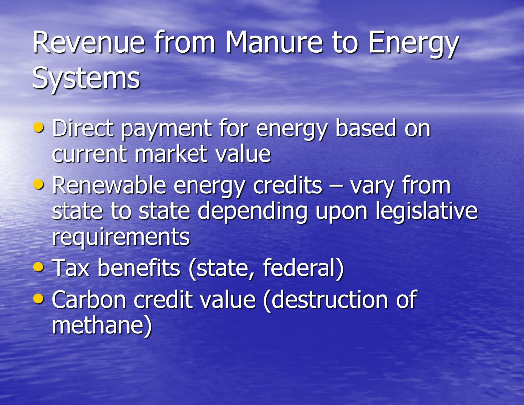 Revenue from Manure to Energy Systems