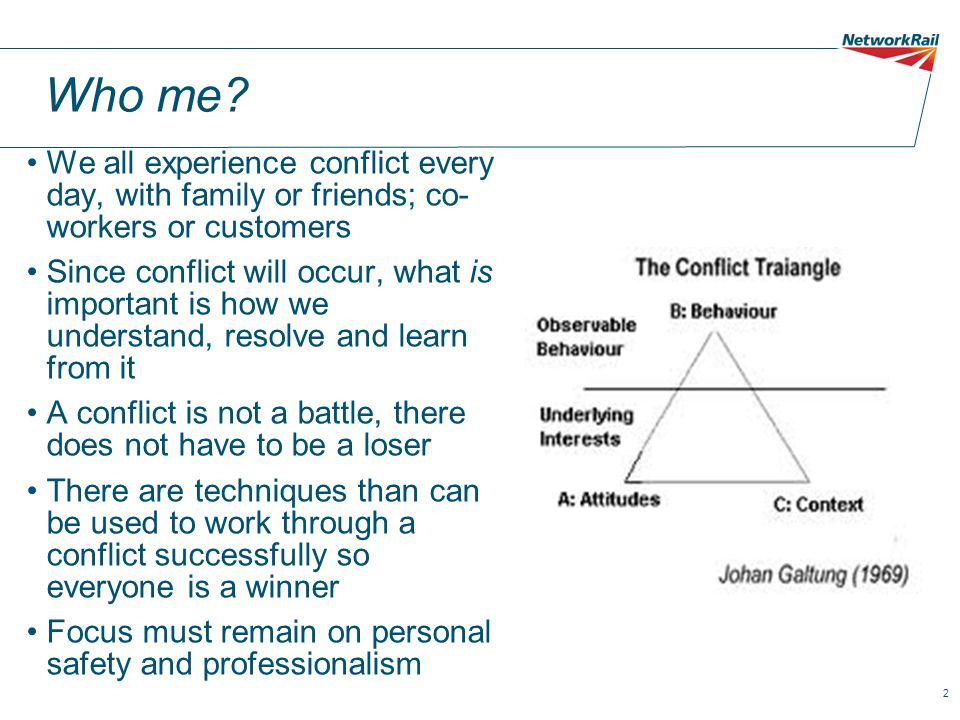 Who me We all experience conflict every day, with family or friends; co- workers or customers.