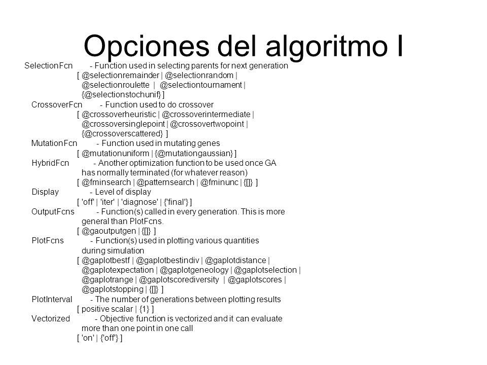 Opciones del algoritmo I