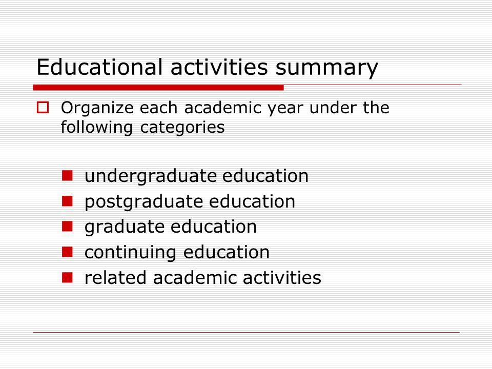 Educational activities summary
