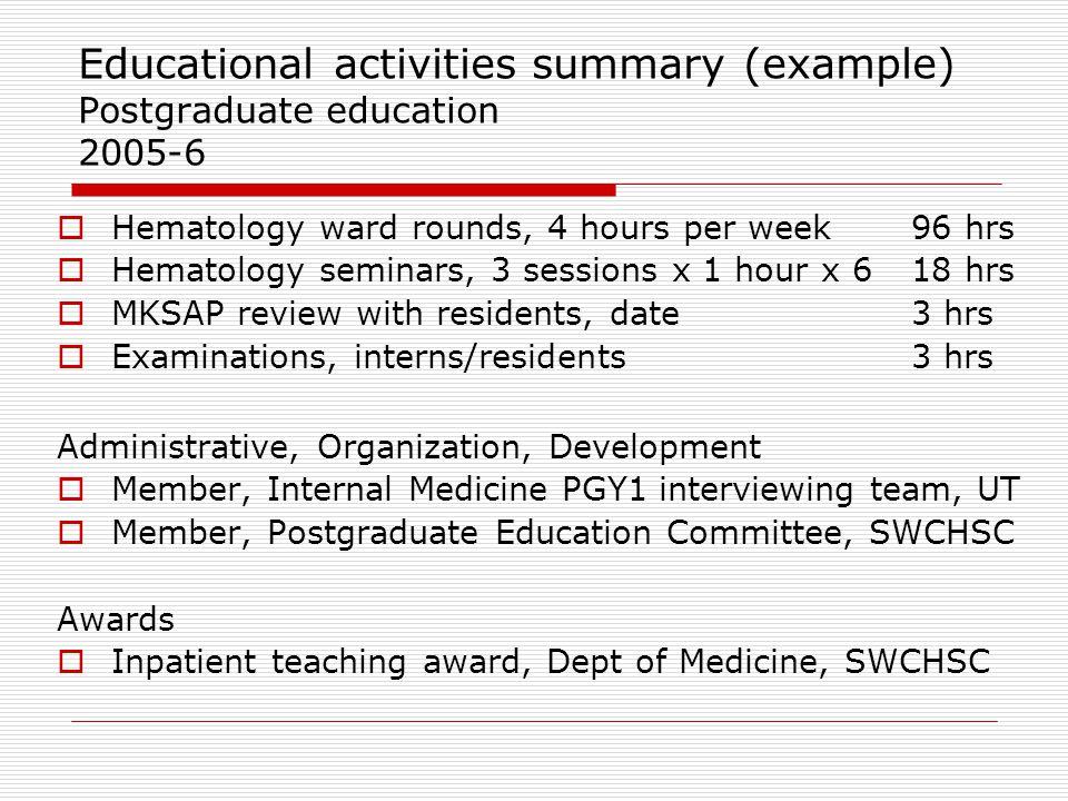 Educational activities summary (example) Postgraduate education 2005-6